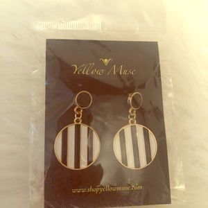 Brand New Black White Striped Earrings with Gold